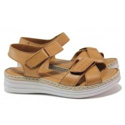 Равни ортопедични сандали, естествена кожа, велкро лепенки / МИ 8616 кафяв / MES.BG