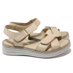 Дамски ортопедични сандали, велкро лепенки, естествена кожа / МИ 8616 бежов / MES.BG