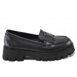 Дамски обувки, тип мокасини, естествена кожа, анатомични / МИ 48-11 черен / MES.BG