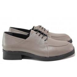 Дамски обувки, естествена кожа, анатомични, дамски, ефектни / МИ 402-76 сив / MES.BG