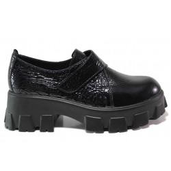 Модерни дамски обувки, естествена кожа, олекотени, велкро закопчаване / МИ 207-73 черен лак / MES.BG