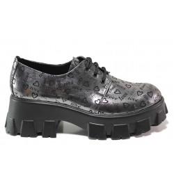 Атрактивни дамски обувки, естествена кожа с принт, анатомични / МИ 208-88 сив сърца / MES.BG