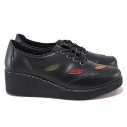 Дамски ортопедични обувки, естествена кожа, платформа, връзки / МИ 5002 черен / MES.BG