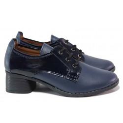 Удобни дамски обувки, среден ток, естествена кожа с лак / МИ 187-61-66 т.син / MES.BG