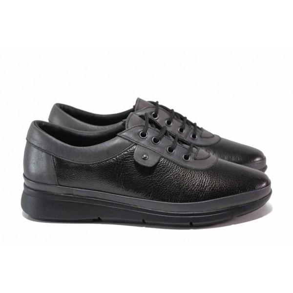 Дамски обувки от естествена кожа, ортопедични, леки, удобно ходило / МИ 703-2 черен-сив / MES.BG