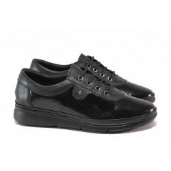 Черни ортопедични обувки, естествена кожа и кожа-лак, дамски, леки / МИ 703-3 черен лак / MES.BG