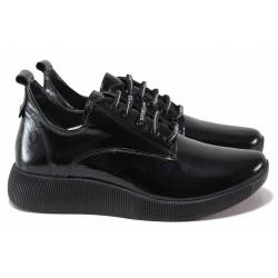 Анатомични дамски обувки от естествена кожа-лак, олекотени, връзки / ТЯ 308-09 черен лак / MES.BG