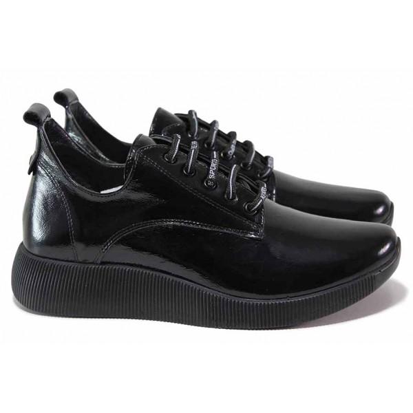 Олекотени дамски обувки от естествена кожа-лак, анатомични, връзки / ТЯ 308-09 черен лак / MES.BG
