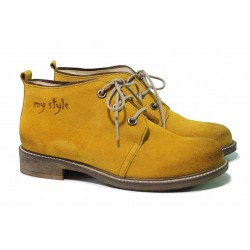 Жълти дамски боти /тип кларк/, естествен велур, анатомично ходило / ЖТ CLARK горчица / MES.BG