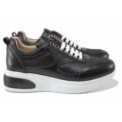 Дамски спортни обувки, ортопедични, естествена кожа, връзки, платформа / ТЯ 2001 черен / MES.BG