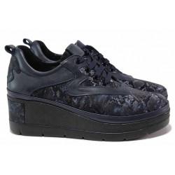 Дамски обувки от естествена кожа, анатомични, змийски десен / МИ 10903-215 син питон / MES.BG