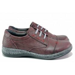 Анатомични обувки, естествена мачкана кожа, олекотени, гъвкави / Loretta 6736-36 бордо / MES.BG