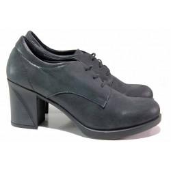 Анатомични дамски обувки, естествена кожа-сатен, висок ток, връзки / ТЯ 225 черен сатен / MES.BG