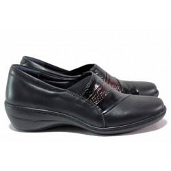 Анатомични обувки от естествена кожа, олекотени, гъвкави, ластик, декорация с лак / Loretta 5497-21 черен / MES.BG