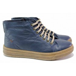 Сини ортопедични боти от естествена кожа, мачкан ефект, олекотени, спортни / Loretta 6770-21840 т.син / MES.BG