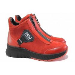 Червени спортни боти, естествен набук, топли, цип / МИ 803 червен / MES.BG