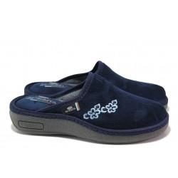 Български дамски чехли, домашни, анатомични, текстил / Spesita 20-102 т.син / MES.BG