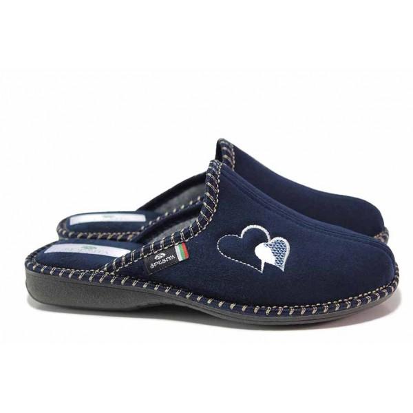 Удобни дамски домашни чехли, анатомични, български / Spesita 20-101 т.син сърца / MES.BG