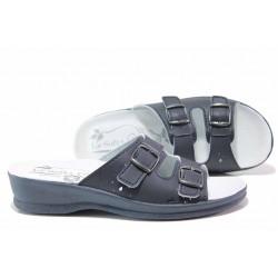 Комфортни дамски чехли със стелка от естествена кожа, каишки с катарама, анатомични / ИЯ 40032 син / MES.BG