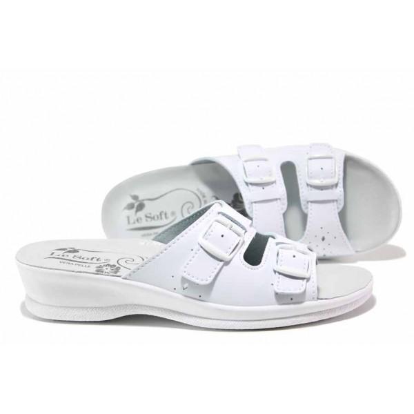 Анатомични дамски чехли, каишки за регулиране на ширината, стелка от естествена кожа / ИЯ 40032 бял / MES.BG