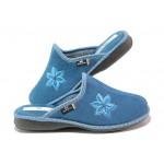 Анатомични домашни чехли в аквамаринено синьо / Spesita 20-128 св.син / MES.BG