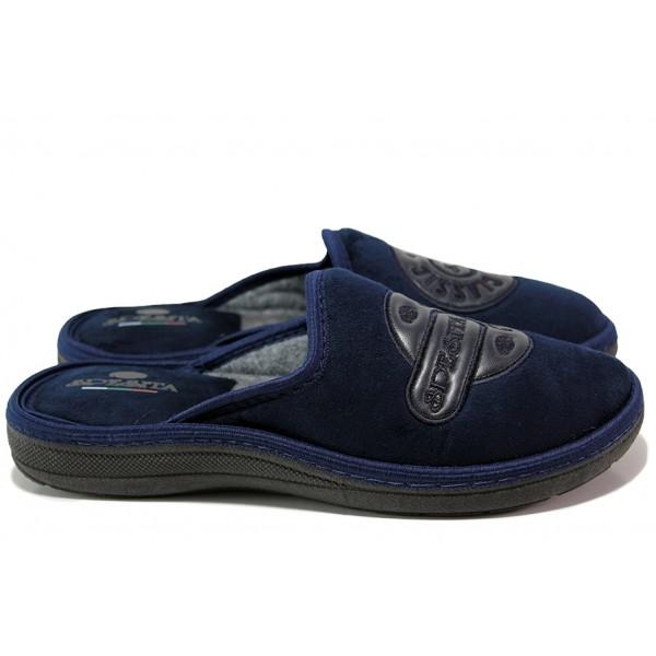 Мъжки анатомични чехли, гъвкаво ходило, кожен елемент / Spesita 2140 т.син / MES.BG