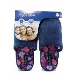 Домашни анатомични чехли, олекотени, флорален мотив / Defonseca ROMA TOP W701 син / MES.BG