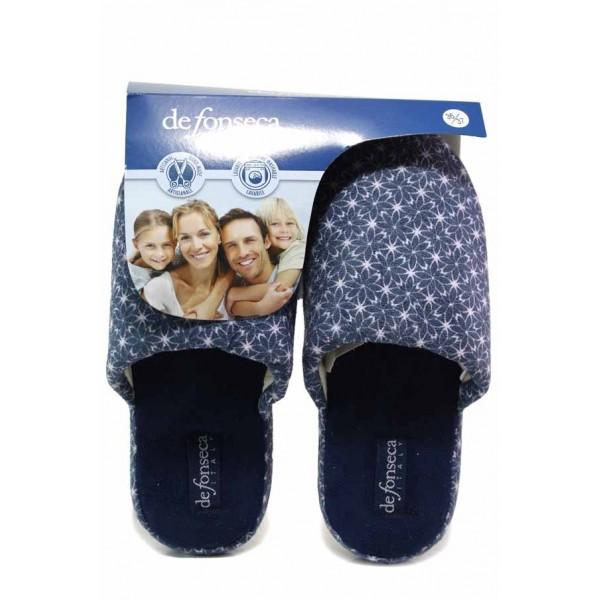 Комфортни домашни чехли с олекотено ходило, флорален мотив / Defonseca ROMA TOP W704 син-цветя / MES.BG