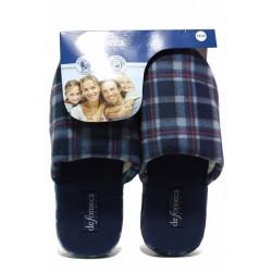 Карирани домашни чехли, анатомични, мъжки, меки / Defonseca ROMA TOP M720 син каре / MES.BG
