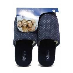 Комфортни мъжки домашни чехли, еластична подметка, анатомични / Defonseca ROMA TOP M710 т.син точки / MES.BG