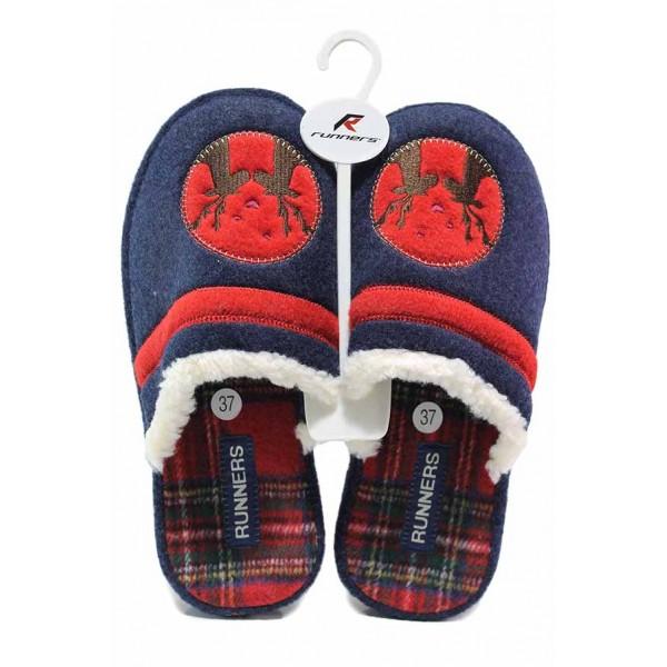 Коледни домашни чехли с анатомично ходило , олекотени / Runners 212-20116 син елен / MES.BG