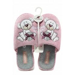 Анатомични дамски домашни чехли с апликация / Runners 212-1093 розов-сив мече / MES.BG