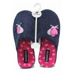 Дамски анатомични домашни чехли със сърца / Runners 212-1869 син / MES.BG