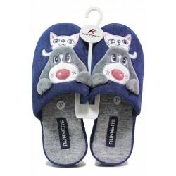 Анатомични домашни чехли със закачлива картинка на животни / Runners 212-2021 син / MES.BG