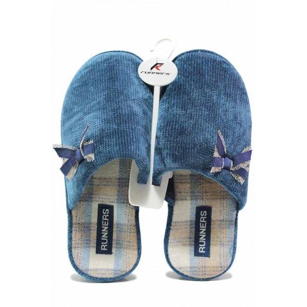 Дамски анатомични домашни чехли с красива панделка / Runners 212-20154 син / MES.BG