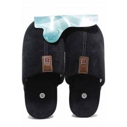 Комфортни мъжки чехли с метална емблема, анатомични / Bulldozer 212-9 черен / MES.BG