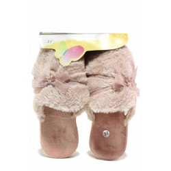 Розови анатомични домашни чехли с панделка / Bulldozer 212-5 пудра / MES.BG