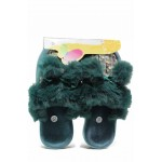 Кокетни дамски домашни чехли с пухкави помпони, анатомични / Bulldozer 212-3 зелен / MES.BG
