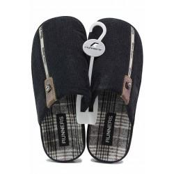 Комфортни мъжки домашни чехли, анатомични, кожен акцент / Runners 212-1567 черен / MES.BG