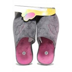Анатомични домашни чехли с нежни сърца и точки / Bulldozer 62-2 сив-розов / MES.BG