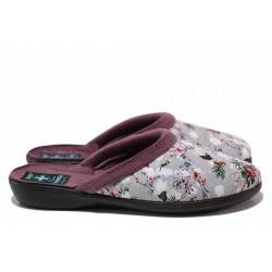 Анатомични домашни чехли, Bio ходило, флорален мотив / МА 26764 сив-цветя / MES.BG