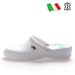 Анатомични дамски чехли тип ''сабо'', естествена кожа, медицински / Bull 40000-A бял / MES.BG