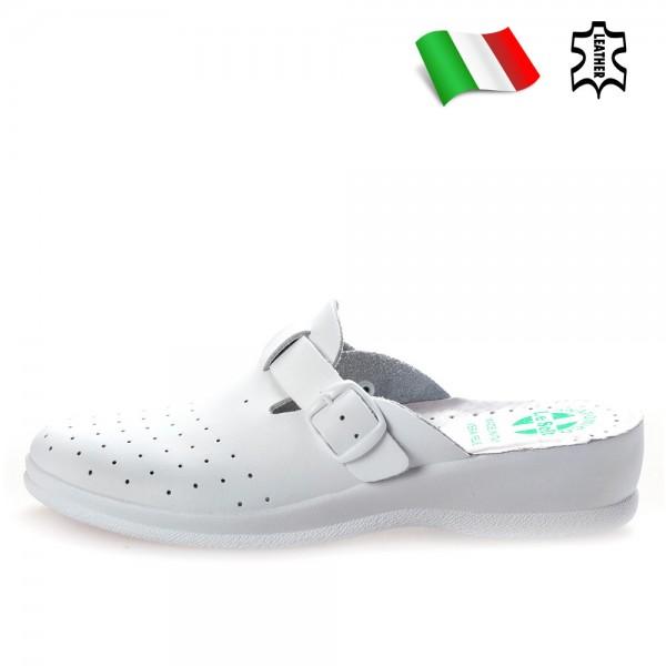 Анатомични дамски чехли тип ''сабо'', естествена кожа, катарама / Bull 40010-A бял / MES.BG