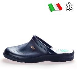 Мъжки медицински чехли с полиуретаново покритие, анатомични, кожени стелки / Bull 50000-A син / MES.BG