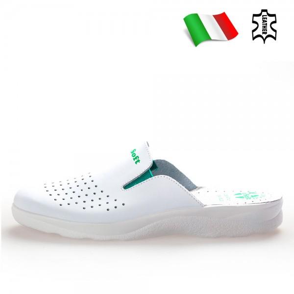 Анатомични чехли от естествена кожа с полиуретаново покритие, медицински / Bull 50020-A бял / MES.BG