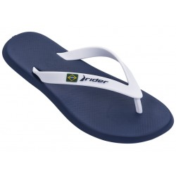 Комфортни мъжки бразилски чехли с лента между пръстите / Bull Rider 10594/20718 син-бял / MES.BG