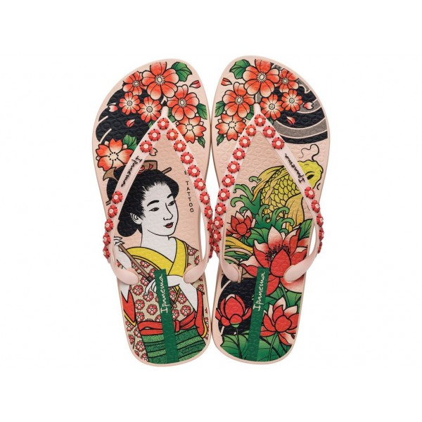 Комфортни бразилски чехли с красива апликация в азиатски стил / Bull Ipanema 26454/20168 розов-червен / MES.BG