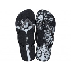 Комфортни бразилски чехли с лента между пръстите / Bull Ipanema 26454/21194 черен-бял / MES.BG
