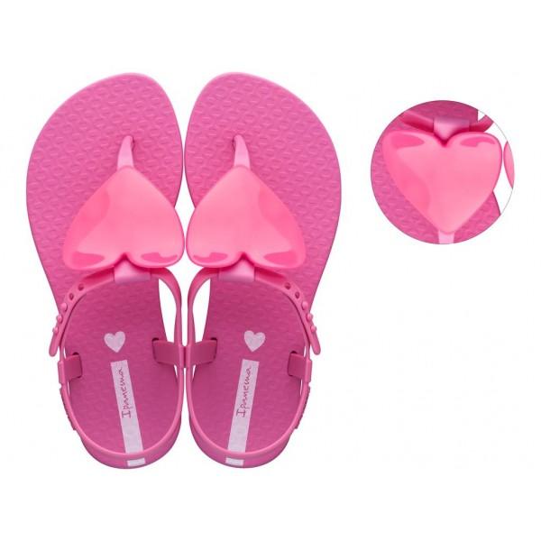 Детски сандали с декорация и тик-так закопчаване / Bull Ipanema 26563/22158 розов сърце / MES.BG