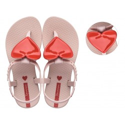 Детски сандали с декорация сърце, тик-так закопчаване / Bull Ipanema 26563/22315 розов-червен / MES.BG